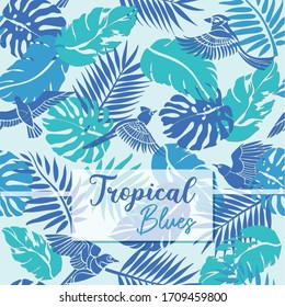 Tropical leaves and birds in ocean colour palette giving fresh soothing feel. Its seamless pattern and can used as surface design pattern in textiles or wallpaper artwork for interior of a room.