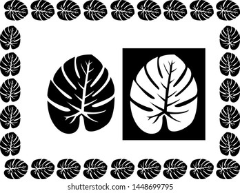 Tropical Leaves Border design concept - Scroll saw, Intarsia, T shirt design, wall sticker, Tattoo or Embossing pattern with black and white background