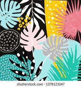 Tropical leaves. Botanica background, Hand made watercolor. Monstera and palms. Jungle background. Vector illustration