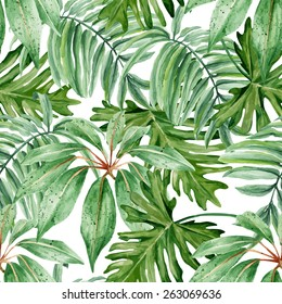 Tropical leaves, dense jungle. Seamless, hand painted, watercolor pattern. Vector background.