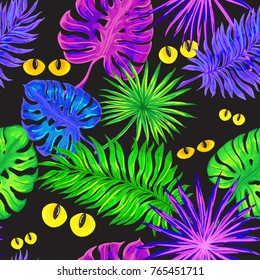 Tropical leaves, eyes of wild animals in jungle night. Exotic leaves glowing in neon light. Seamless exotic pattern on black background. Vector