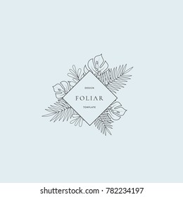 Tropical Leaves Fashion Boutique Sign or Logo Template. Abstract Monstera Foliage with Rhombus Border and Classy Typography. Gentle Colors. Good for Wedding or Party Invitation, etc. Isolated.