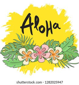Tropical leaves and flowers with Aloha lettering