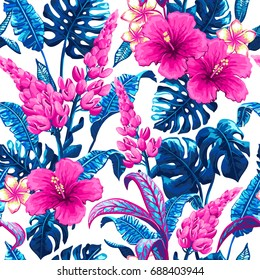 Tropical leaves and flowers background. Seamless vector pattern with jungle leaves and exotic flowers in trendy style.