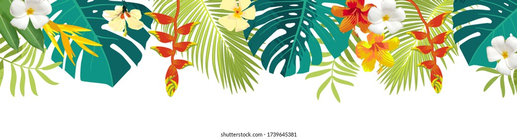Tropical leaves and flowers border. Summer floral decoration. Horizontal summertime banner. Bright jungle background. Bright colors. Caribbean beach party backdrop. Eps 10 vector