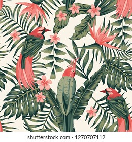 Tropical leaves, flowers frangipani, birds of paradise, parrot abstract colors seamless realistic vector image