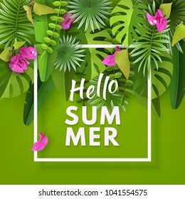 Tropical leaves, flowers and plants. Green abstract background with tropical foliage and flowers bougainvillea. Sammer, summertime, tourism. Cut paper. Vector illustration