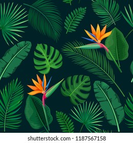 Tropical leaves and flowers seamless pattern. Jungle exotic strelitzia, banana leaf, philodendron, areca palm and royal fern . Vector background summer tropical paradise design vacation.