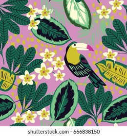 Tropical leaves, flowers and toucan bird seamless pattern