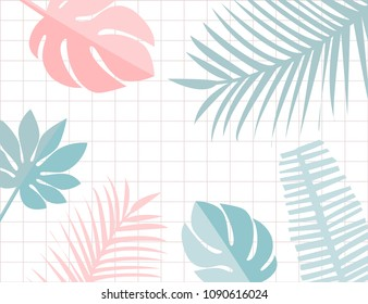 Tropical leaves frame with copyspace. Pastel pink and blue tropic summer background. Monstera and leaf.