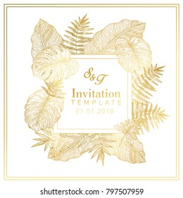 Tropical Leaves Gold invitation
