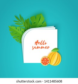 Tropical leaves and grapefruit on note paper. Vector illustration of plants and fruits in paper cut style. Several white sheets lying on top of each other with space for text.