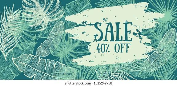 Tropical leaves hand drawn illustration. Sale banner.