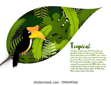 Tropical  leaves with hornbill isolated on white background and space for your text. Natural concept. Vector illustration.