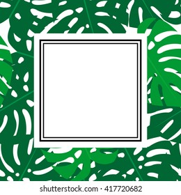 Tropical leaves illustration with space for text. Bright summer card with frame. Cute vector monstera leaves background. Fashion jungle illustration. Summer tropical style banner and flyer.