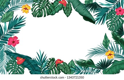Tropical leaves isolated on white background