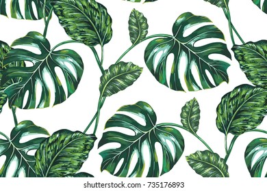 Tropical leaves, jungle leaf, monstera tree seamless vector floral pattern background