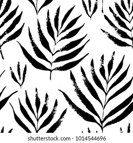 Tropical leaves, jungle pattern. Seamless, hand drawn, botanical pattern. Vector background.