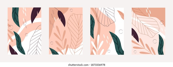 Tropical leaves nature pattern vector illustration set. Abstract floral palm tree leaf in line art style, summer exotic jungle rainforest plants, botanical natural textures background collection
