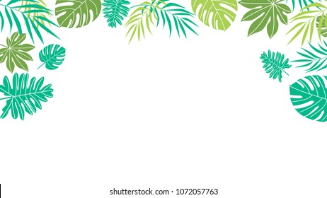 Tropical leaves on transparent background. Flat style vector design.  Top view, frame and copy space for text.