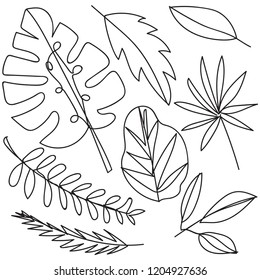 Tropical Leaves Line Drawing Images Stock Photos Vectors Shutterstock Find the perfect tropical leaf stock illustrations from getty images. https www shutterstock com image vector tropical leaves oneline drawing style black 1204927636