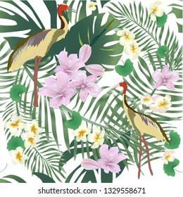 Tropical leaves, orchid flowers, flamingos,- vector-เวกเตอร์