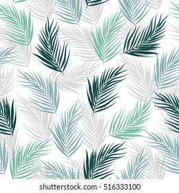 Tropical leaves of palm tree. Seamless pattern. Vector background.