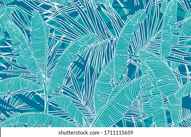 Tropical leaves pattern. Seamless texture with banana leaves and palm tree leaf.  Banner for the travel and tourism industry, summer season. Blue floral design element, print for fabrics.