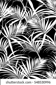 Tropical leaves pattern in vector and black color.