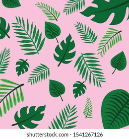 Tropical leaves pattern, Vector isolated elements on the white background