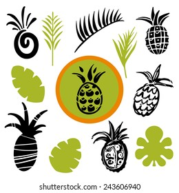 Tropical leaves and pineapples cartoon hand drawn illustrations set isolated on a white background, art logo design
