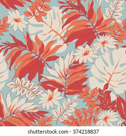 Tropical leaves print background. Beautiful seamless pattern. Exotic pattern with tropical leaves and flowers. Blooming jungle. Vector illustration.