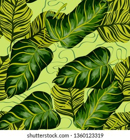 Tropical leaves realistic seamless pattern. Banana leaf and palm tree. Hawaiian exotic background with tropical plants.