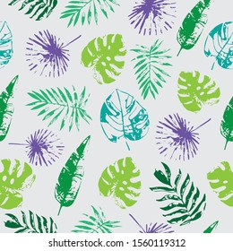 Tropical leaves repeating seamless pattern