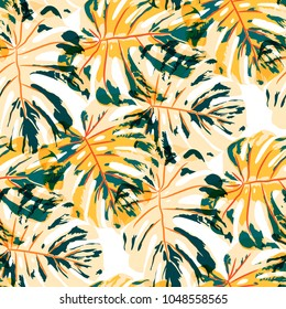 Tropical Leaves. Seamless Texture with Bright Hand Drawn Leaves of Monstera. Bright Rapport for Paper, Textile, Wallpaper. Vector Seamless Background with Tropic Plants.