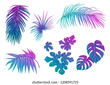 Tropical leaves set in neon, fluorescent colors monstera and palm. Colored vector illustration.