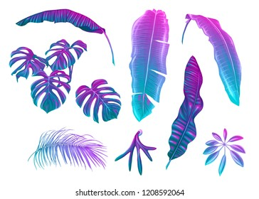Tropical leaves set in neon, fluorescent colors. Monstera and banana. Colored vector illustration.