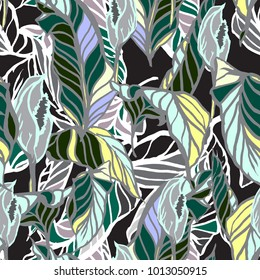 Tropical leaves vector repeating tile pattern camouflage. Floral seamless hand drawing graphic background exotic foliage jangle night