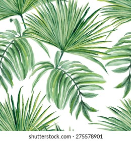 Tropical leaves watercolor. Seamless vector pattern