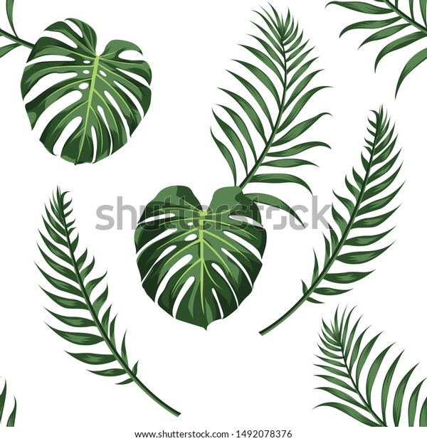 Tropical Leaves White Background Palm Leaves Stock Vector Royalty Free 1492078376 Tropical leaves free background free photo. https www shutterstock com image vector tropical leaves white background palm seamless 1492078376