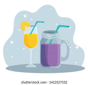 tropical lemon with juice beverage and smoothie