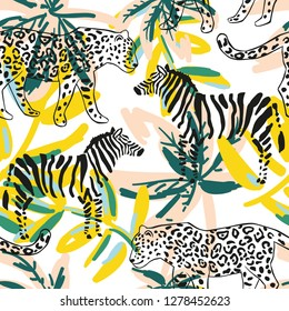 Tropical leopard, zebra animal, palm leaves, white background. Vector seamless pattern. Graphic illustration. Exotic jungle plants. Summer beach floral design. Paradise nature
