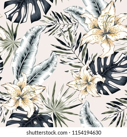 Tropical lily flowers and gray palm leaves, beige background. Vector seamless pattern. Jungle foliage illustration. Exotic plants. Summer beach floral design. Paradise nature. Neutral colors