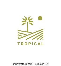 Tropical logo design symbol inspiration vector template