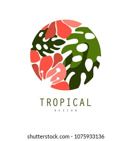 Tropical logo template design, round badge with palm leaves and red exotic flowers vector Illustration on a white background