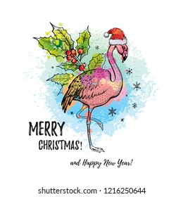 Tropical Merry Christmas. Flamingo in Santa hat, hand drawn doodle sketch. Girl/woman t-shirt print, card. Exotic holiday icon. Color vector illustration, watercolor splash isolated, white background.