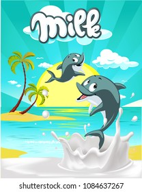 Tropical milk flat design with cute dolphin vector illustration