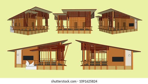 Tropical modern Asia house Vector & Illustration
