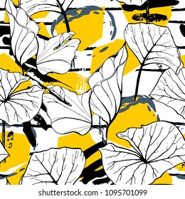 Tropical, modern stripes motif. Black and white summer jungle leaf on bright abstract shape brush line. Trending contrast seamless pattern vector background. Watercolor blobs and daubs, ink, stains.