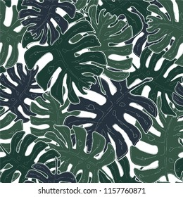 Tropical Monstera Leaf Pattern, Green Hand Drawn Line Art, Tropical Background